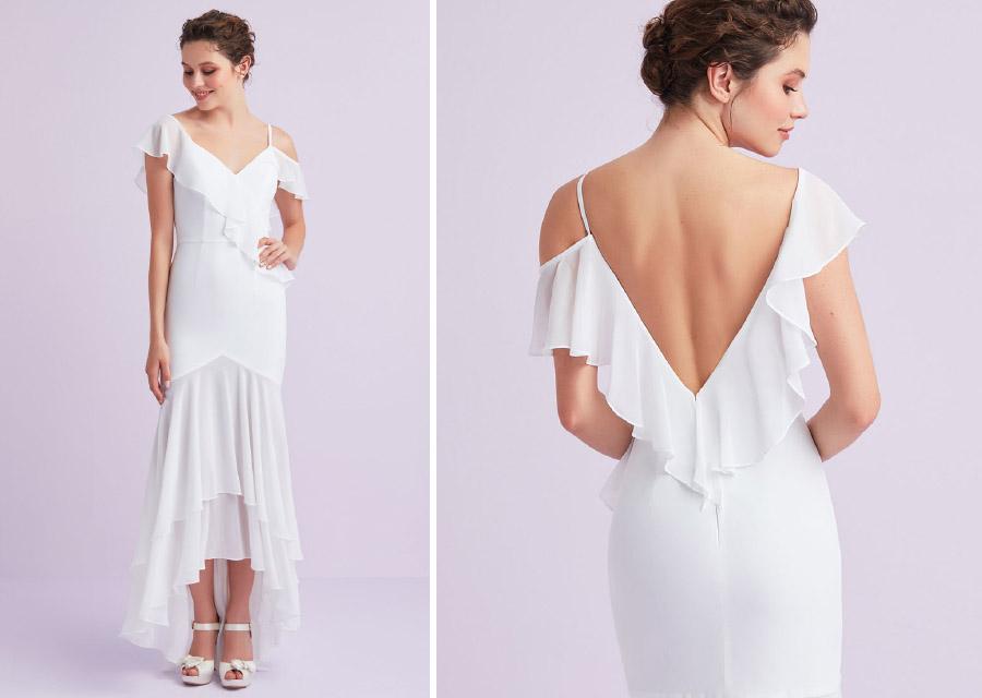 2021 Beyaz Askılı Önü Kısa Arkası Uzun Şifon Nikah Elbisesi Midi Boy Gelinlik