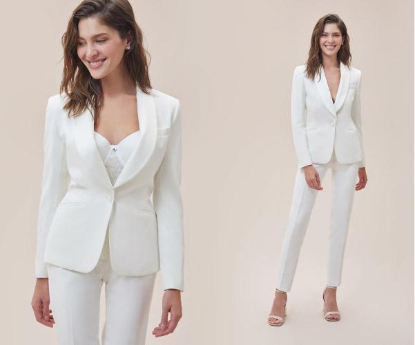 Beyaz Dar Kesim Krep Gelinlik Takım Elbise Oleg Cassini