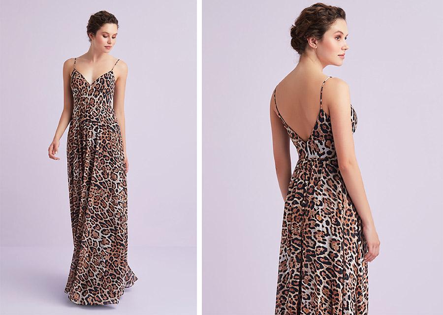 Leopar Desen V Yaka Askılı Şifon Uzun Elbise