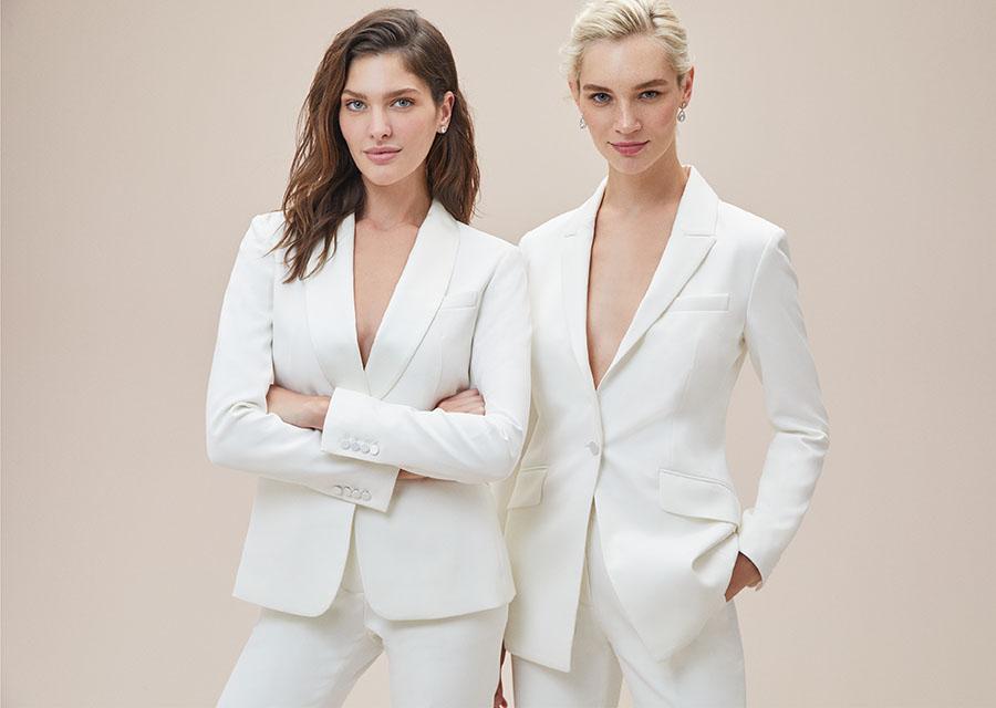 Beyaz Dar Kesim Takım Elbise Gelinlik Pantolonu - Oleg Cassini