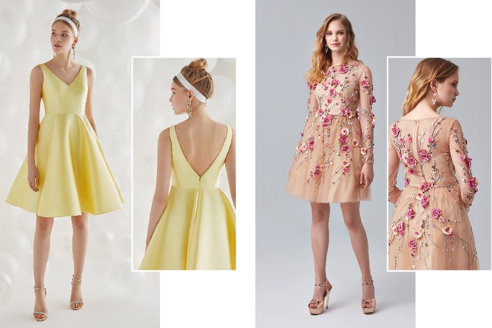 3d9ceb2e44fc7 Sarı Kabarık Etekli, Çiçek İşlemeli Kısa Ortaokul Mezuniyet Kıyafetleri  2019 ...