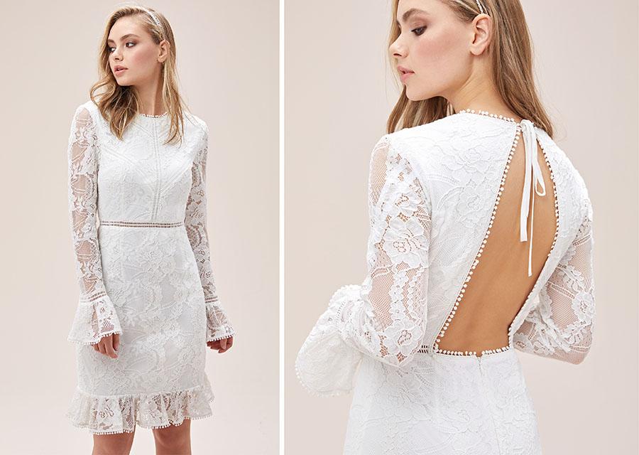 Beyaz Dantel İşlemeli İspanyol Kollu Sırt Dekolteli Kısa Nikah Elbisesi - Oleg Cassini