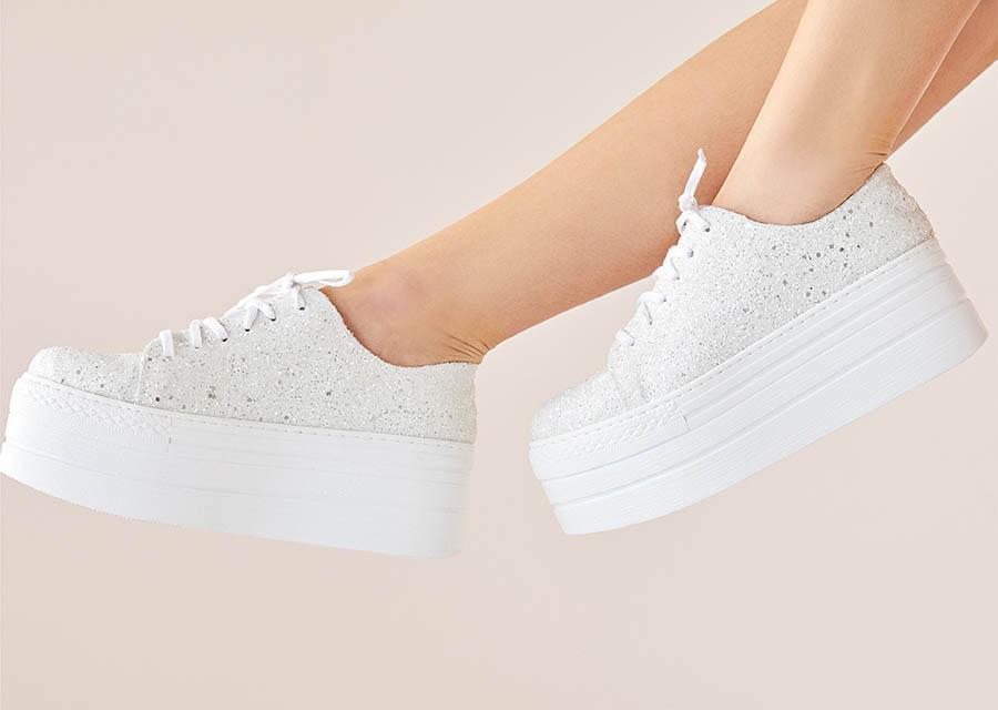 Kırık beyaz Yüksek Tabanlı Spor gelin ayakkabısı - Oleg Cassini