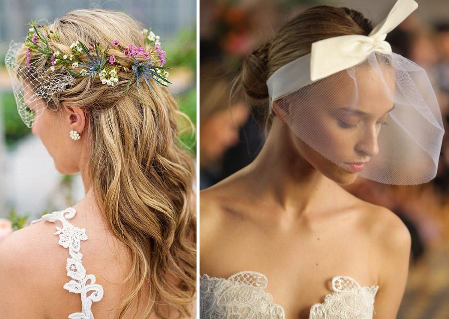 Kısa Duvaklı Nikah İçin Gelin Saç Aksesuarı