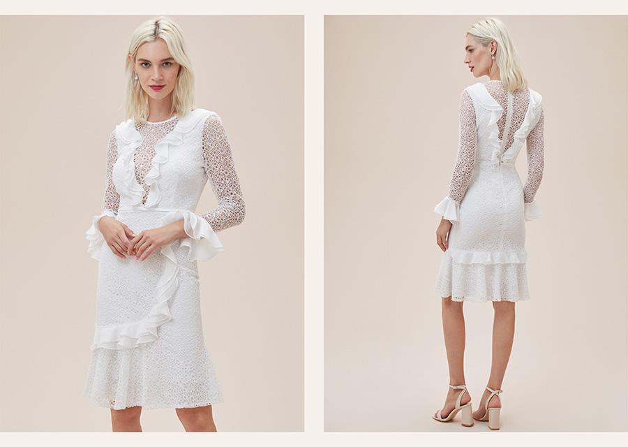 Krem Rengi Uzun Kollu Dantel Abiye Elbise - Oleg Cassini 2021