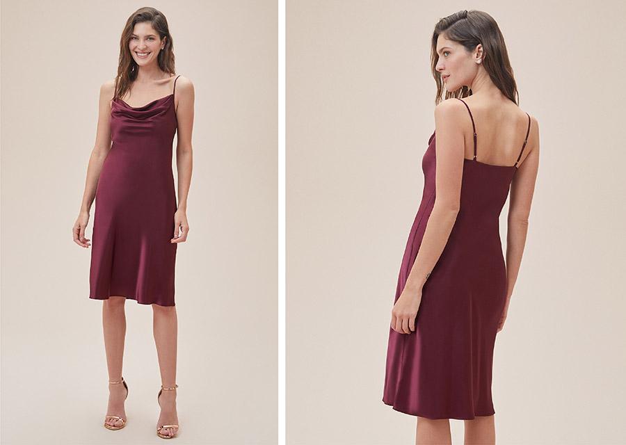 Şarap rengi ince askılı midi boy nişan elbisesi