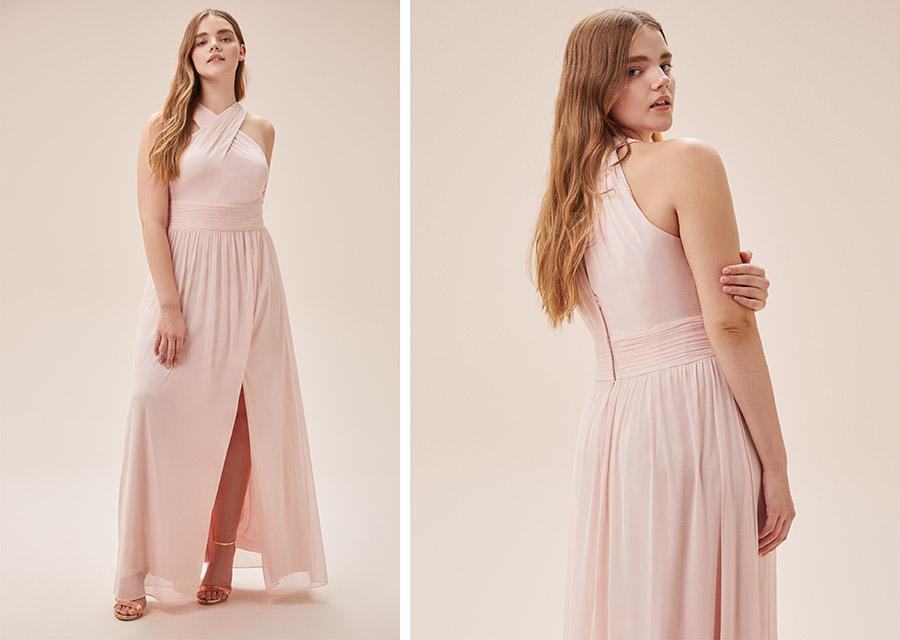 Toz Pembe Çapraz Yaka Askılı Nişan Elbisesi