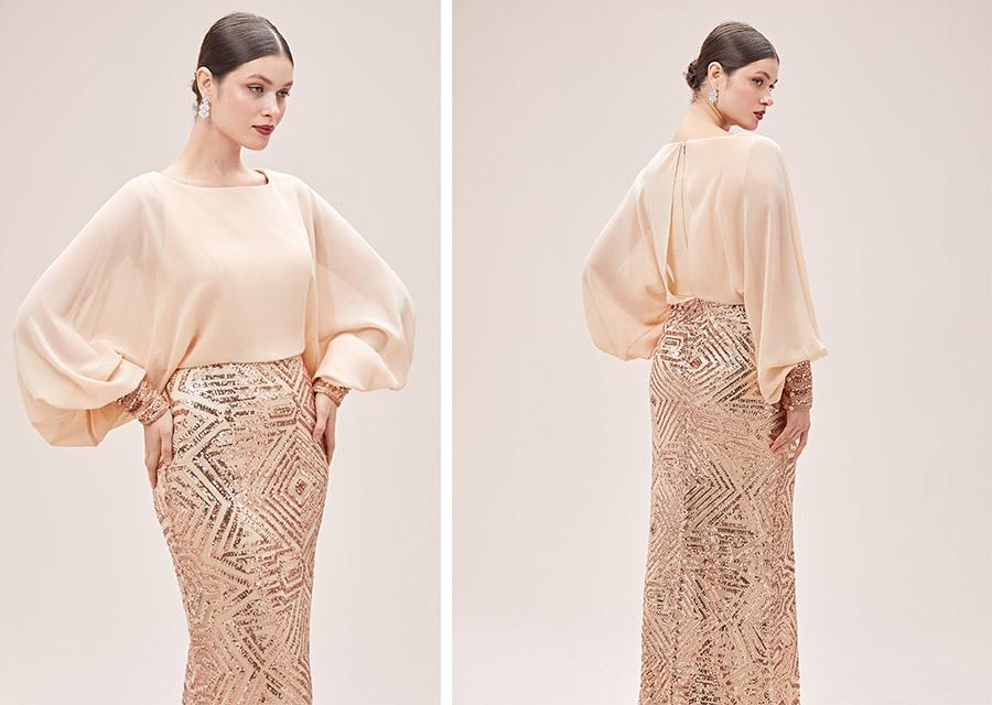 Uzun kollu kapalı nişan elbisesi - oleg cassini