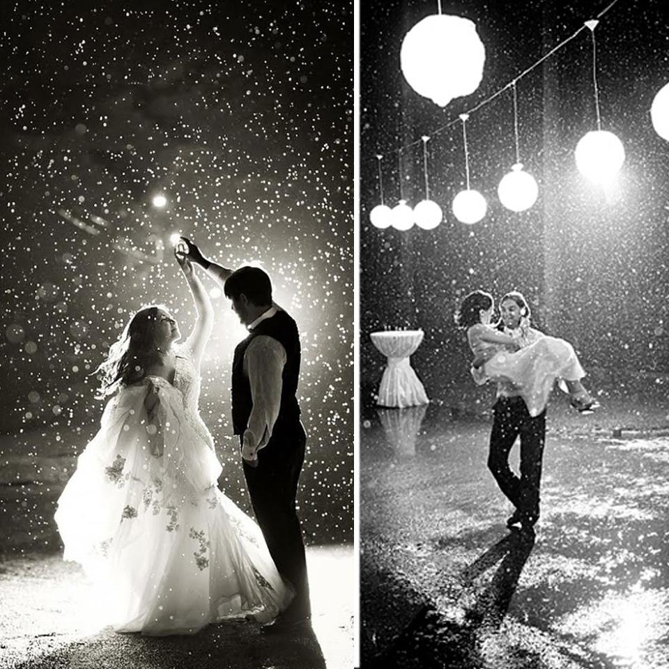 Yağmur Altında Çekilen Siyah Beyaz Kış Düğün Fotoğrafları